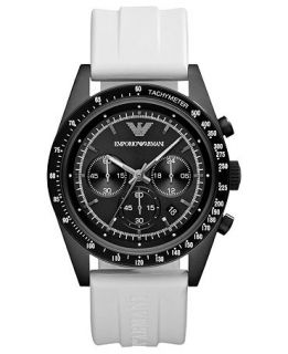 Emporio Armani Watch, Mens Chronograph White Rubber Strap 43mm AR6112   Watches   Jewelry & Watches