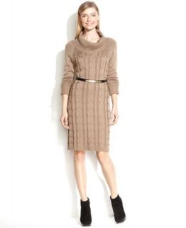 Calvin Klein Dress, Long Sleeve Belted Turtleneck Sweater   Dresses   Women
