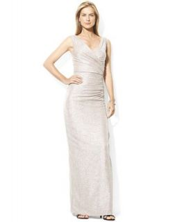 Lauren by Ralph Lauren Dress, Sleeveless Metallic V Neck Gown   Dresses   Women