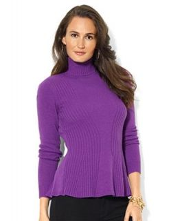 Lauren Ralph Lauren Sweater, Long Sleeve Ribbed Peplum   Sweaters   Women