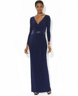 Lauren Ralph Lauren Long Sleeve Sequined Surplice Neck Gown   Dresses   Women