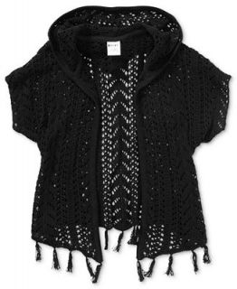 Roxy Kids Sweater, Girls Hooded Crochet Fringe   Kids