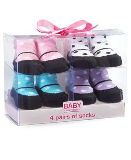 Baby Essentials Baby Socks, Baby Girls Mary Jane Polka Dot Socks 4 Pack   Kids