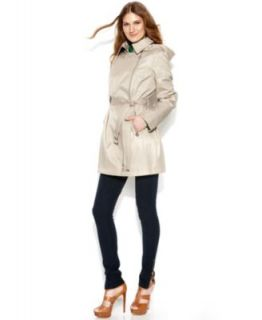 MICHAEL Michael Kors Hooded Faux Leather Mixed Media Trench Coat   Coats   Women