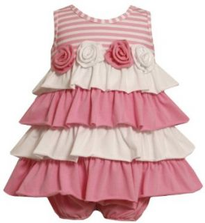 Bonnie Baby Girls Infant Tiered Knit Sundress, Pink, 12 Months Clothing