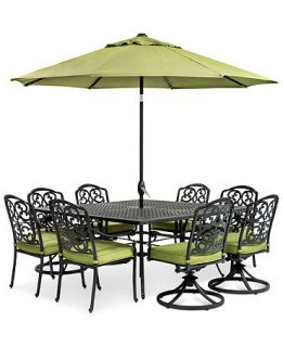Kenbridge 9 Piece Outdoor Set 4 Dining Chairs, 4 Swivel Chairs and 64 Square Table   Furniture