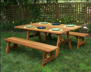 "46"" x 42"" Red Cedar Traditional Picnic Table with (2) 46"" Benches with Stain  Patio, Lawn & Garden"