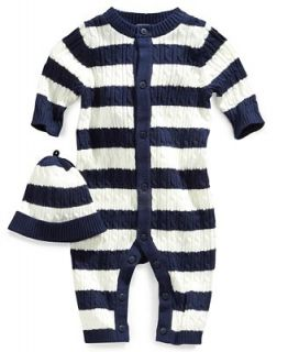 Little Me Baby Set, Baby Boys 2 Piece Rugby Cable Coverall and Hat   Kids