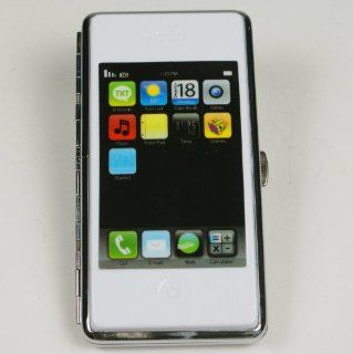 apple iPhone phone shape metal wallet cigarette case box holder king size 100mm white