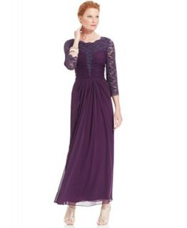 Alex Evenings Three Quarter Sleeve Glitter Lace Gown   Dresses   Women