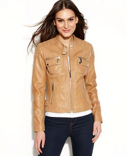 MICHAEL Michael Kors Quilted Detail Leather Motorcycle Jacket   Women