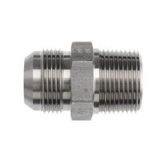 "Brennan 2404 12 12 SS, Stainless Steel JIC Tube Fitting, 12MJ 12MP Adapter, 3/4"" Tube OD x 3/4"" 14 NPTF Male Flared Tube Fittings"