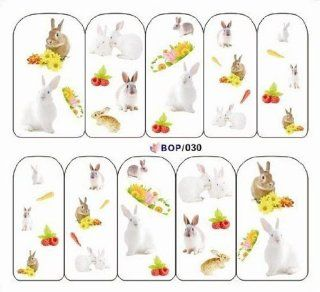 Egoodforyou BLE Water Slide Water Transfer Nail Tattoo Nail Decal Sticker Oil Portray (Rabbits and Sunflowers) with one packaged nail art flower sticker bonus  Beauty