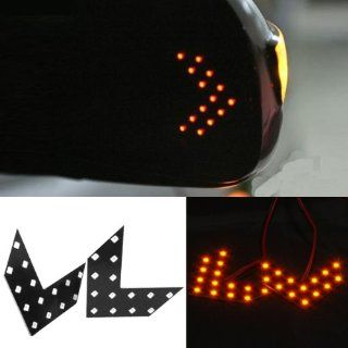 Brand New Set 2Pcs 14 SMD LED Arrow Panels Universal Fits For Car Side Mirror Turn Signal Lights Amber Led Color Automotive