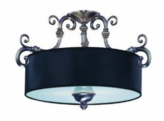 Savoy House Lighting 6 5685 3 187 Mont La Ville 3 Light Semi Flush Ceiling Mount Fixture, Brushed Pewter with Black Shade   Drum Shade Ceiling Light