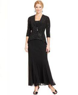 Alex Evenings Sleeveless Sequin Chiffon Gown and Jacket   Dresses   Women