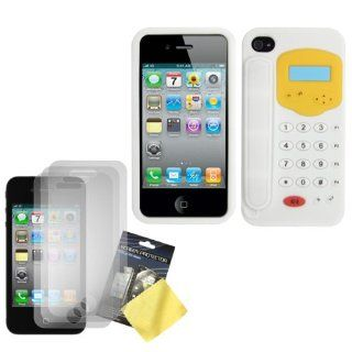 Cbus Wireless White/Yellow Telephone Design Silicone Case / Skin / Cover & Three LCD Screen Protectors / Guards for Apple iPhone 4S / 4 Cell Phones & Accessories
