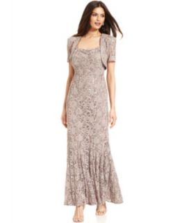 Alex Evenings Dress, Sleeveless Metallic Mesh Portrait Collar Gown   Dresses   Women