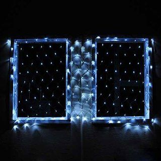 "Connectable Christmas LED Net Light with 176 Leds 40""x80"" 120 Volt Bright White Green Wire, by LEDwholesalers 2083wh   String Lights"