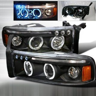 1994 2001 Dodge Ram Halo Led Projector Headlights Black Automotive