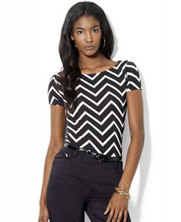 Lauren Ralph Lauren Petite Top, Short Sleeve Chevron Print Jersey   Tops   Women