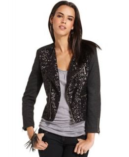MM Couture Jacket, Long Sleeve Sequin Herringbone Zipper Motorcycle   Jackets & Blazers   Women