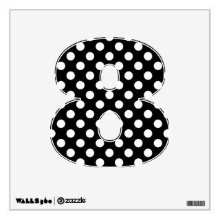 Black & White Polka Dot Number 8 Wall Decal