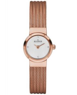 Skagen Denmark Watch, Womens Rose Gold Ion Plated Stainless Steel Mesh Bracelet 26mm 358SRRD   Watches   Jewelry & Watches