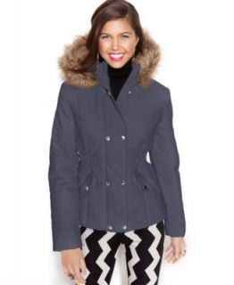 Jessica Simpson Hooded Faux Fur Collar Belted Puffer   Coats   Women