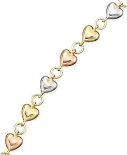 14k Gold over Sterling Silver and Sterling Silver Bracelet, Heart Charm   Bracelets   Jewelry & Watches