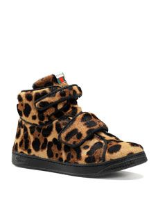 Gucci Bricklane Leopard Print Calf Hair High Top