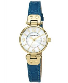 Anne Klein Watch, Womens Teal Leather Strap 26mm AK 1394MPTE   Watches   Jewelry & Watches