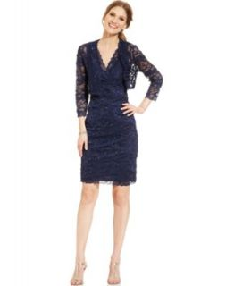 Alex Evenings Petite Dress, Cap Sleeve Metallic Lace Belted Faux Wrap   Dresses   Women