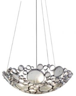 Varaluz 165P04NV Fascination Collection 4 Light Pendant, Nevada Finish with Recycled Green Bottle Glass, 27 Inch by 8 Inch   Ceiling Pendant Fixtures