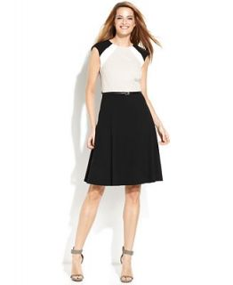 Calvin Klein Sleeveless Belted Colorblock Dress   Dresses   Women