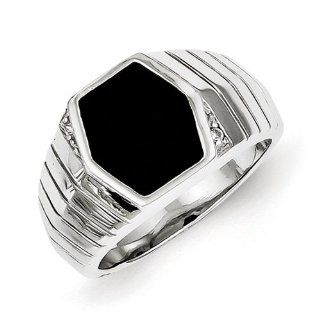 Sterling Silver Men's CZ & Onyx Ring Jewelry
