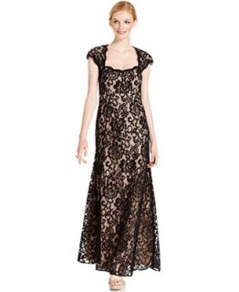 Betsy & Adam Dress, Cap Sleeve Contrast Lace Gown   Dresses   Women