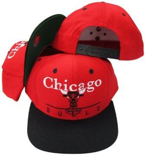 Chicago Bulls Red/Black Two Tone Plastic Snapback Adjustable Plastic Snap Back Hat / Cap  Sports Fan Baseball Caps  Sports & Outdoors