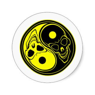 Yin Yang Skull Tattoo Round Sticker