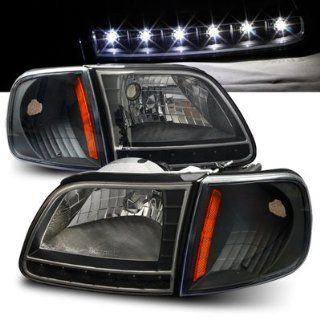 97 03 Ford F150 / Expedition Black LED Headlights with Corner Lights Automotive