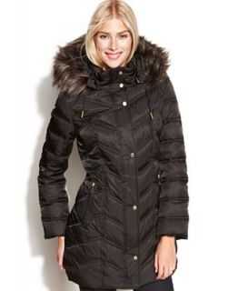 Kenneth Cole Reaction Coat, Hooded Faux Fur Trim Quilted Puffer   Coats   Women