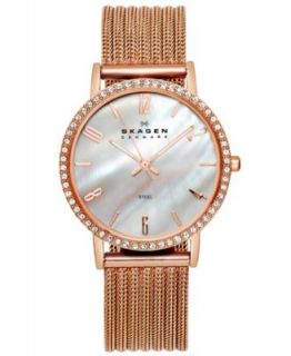 Skagen Denmark Watch, Womens Rose Gold Tone Stainless Steel Mesh Expansion Bracelet 39LRR1   Watches   Jewelry & Watches
