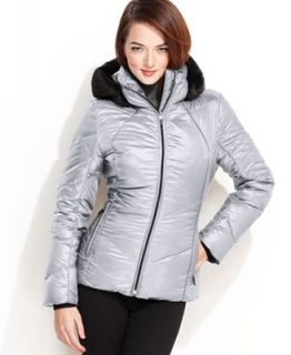 Calvin Klein Jacket, Faux Fur Trim Hooded Fitted Puffer   Coats   Women