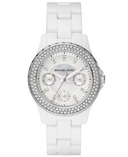 Michael Kors Womens Madison White Acetate Bracelet Watch 33mm MK5458   Watches   Jewelry & Watches