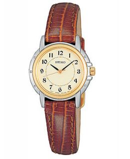 Seiko Watch, Womens Brown Croc Embossed Leather Strap 24mm SXGA02   Watches   Jewelry & Watches
