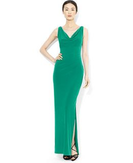 Lauren Ralph Lauren Sleeveless Crystal Embellished Drape Neck Gown   Dresses   Women