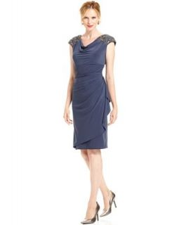 Alex Evenings Petite Dress, Cap Sleeve Beaded Cowl Neck   Dresses   Women