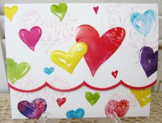 Carol Wilson Colorful Hearts 10 Ct Blank Note Card Set Embossed Health & Personal Care