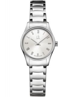 Calvin Klein Watch, Womens Swiss Simplicity White Leather Strap 28mm K4323188   Watches   Jewelry & Watches