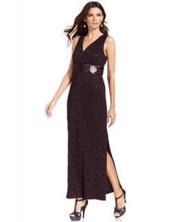 R&M Richards Sleeveless Glitter Lace Gown   Dresses   Women